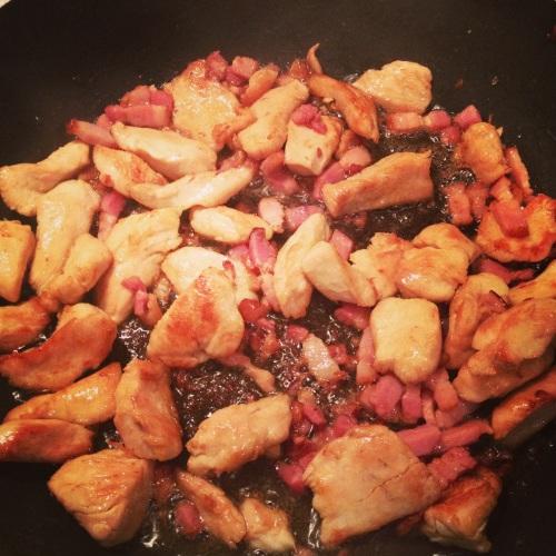 poulet et lardons