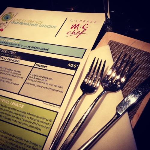 menu MC chef et QcExquis