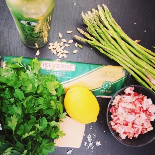 ingrédients linguine pancetta, asperges et citron