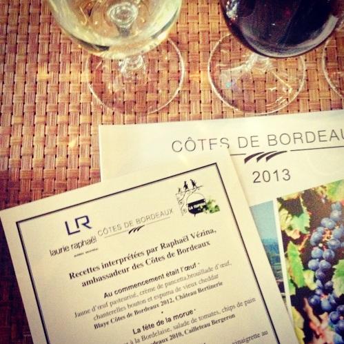 menu Laurie Raphël Bordeaux fête le vin
