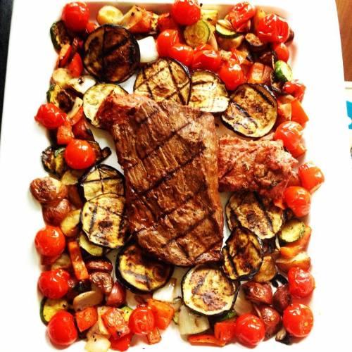 Bavette de boeuf et légumes BBQ