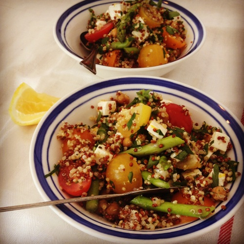 Salade pois chiches rôtis et quinoa