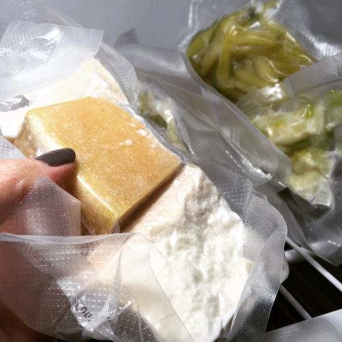 Parmesan et poireaux congelés