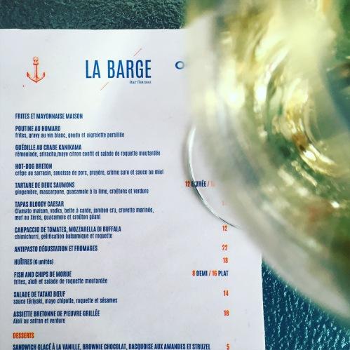 menu La Barge